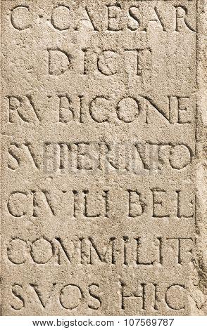 Roman Latin Letters - Julius Caesar Stone