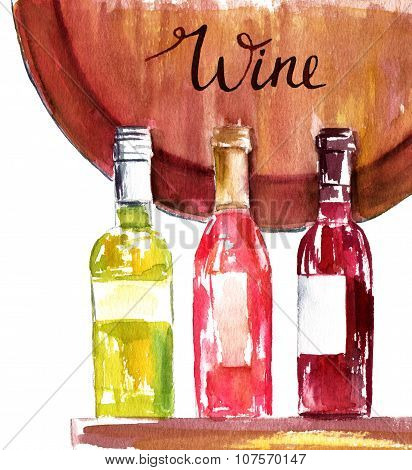 Three wine bottles (white, rose and red wine) and a fragment of a wine barrel