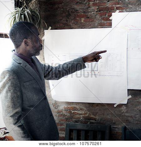 Businessman Architect Blueprint Presentation Working Concept