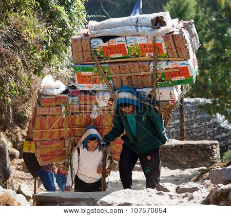 Sherpa Porters With Goods
