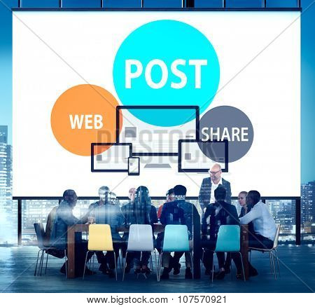 Post Web Share Announce Reminder List Remember Concept