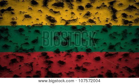 Flag of Lithuania, Lithuanian Flag painted on wall with bullet holes