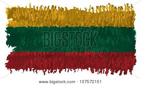 Flag of Lithuania, Lithuanian Flag painted with brush on solid background, paint texture