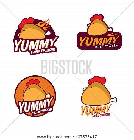 Yummy Fried chicken logo vector set design
