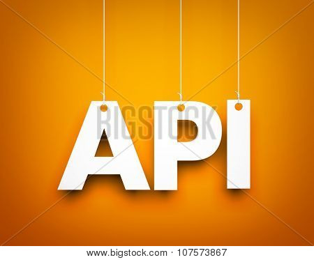 API - word hanging on the string