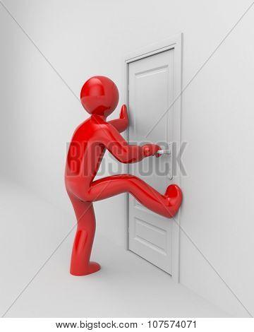 People trying to break into the door