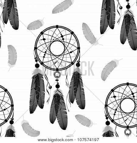 Dream catchers seamless pattern. Indian dream catchers, feathers. White background