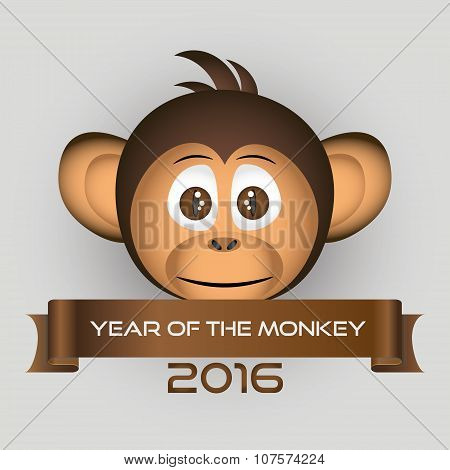 Chimpanzee Little Monkey Head And Year Of The Monkey Eps10