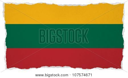 Flag of Lithuania, Lithuanian Flag painted on paper texture
