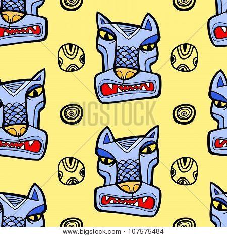 Angry Wolf Seamless Pattern