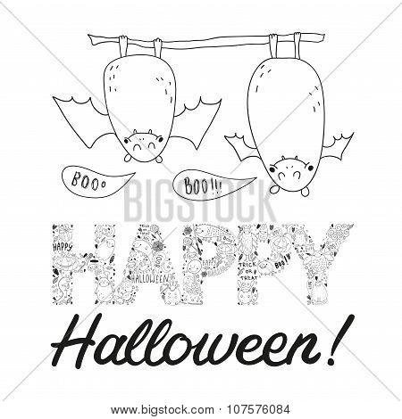 Hand Drawn Vector Halloween Postcard With Two Bats