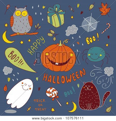 Vector Hand Drawn Set For Halloween