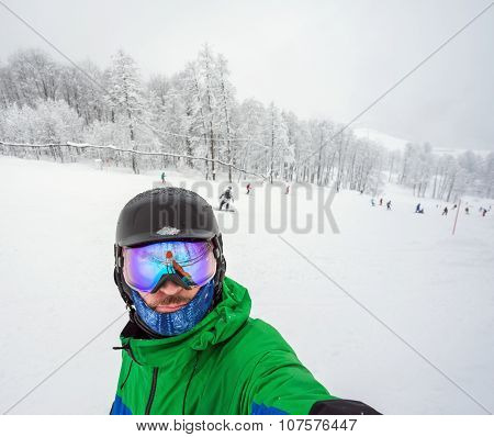 Snowboarder Doing Selfie On Camera
