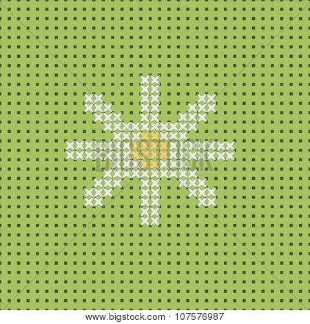 Vector white camomile on green field. Seamless pattern canvas