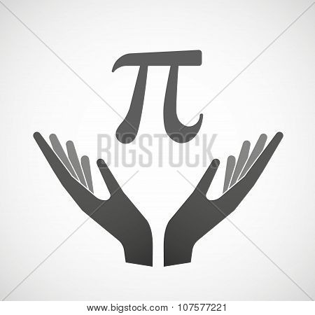 Two Vector Hands Offering The Number Pi Symbol