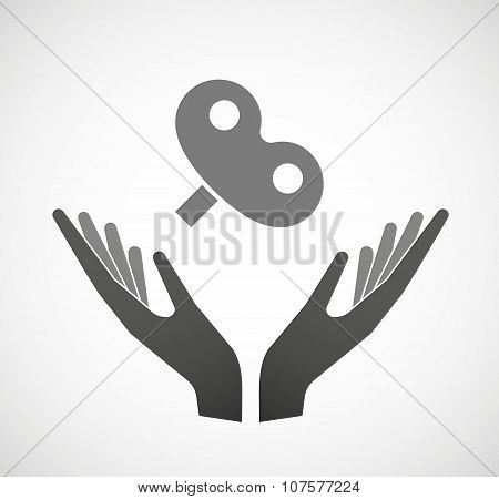Two Vector Hands Offering A Toy Crank