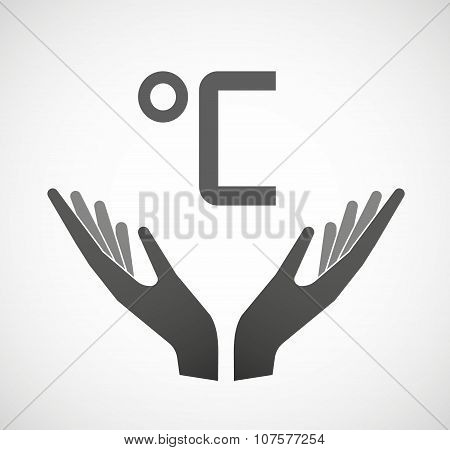 Two Vector Hands Offering  A Celsius Degree Sign