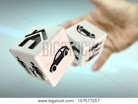 Throwing Dice Home, Family Car Symbols. Risking Everything You Own.