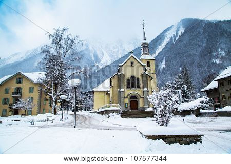 Church in Chamonix town, France