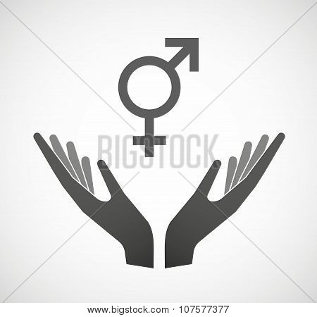 Two Vector Hands Offering A Transgender Symbol