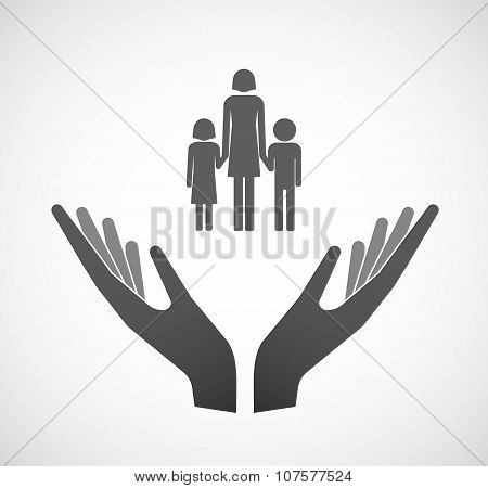 Two Vector Hands Offering A Female Single Parent Family Pictogram
