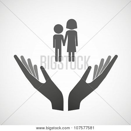 Two Vector Hands Offering A Childhood Pictogram