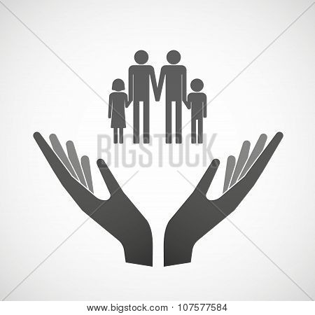Two Vector Hands Offering A Gay Parents  Family Pictogram