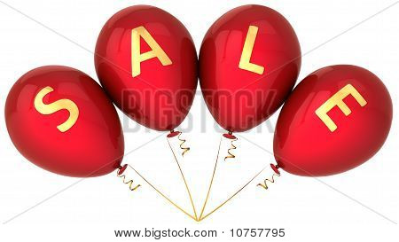 Red balloons with word Sale
