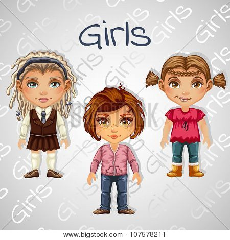 Set of tree images of teenager girls for animation