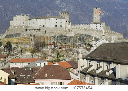 View to the Castelgrande castle and the Collegiate Church in Bellinzona, Switzerland.