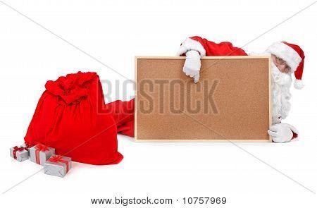 Santa And Empty Bulletin Board