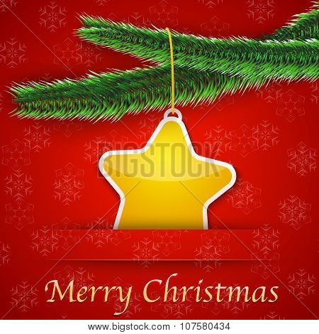 Holiday Gift Card With Christmas Tree And A Yellow Star