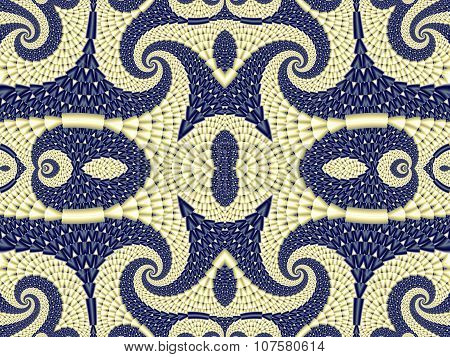 Symmetrical Textured Background With Spirals. Gray And Blue Palette. Computer Generated Graphics.