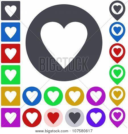 Color heart icon set