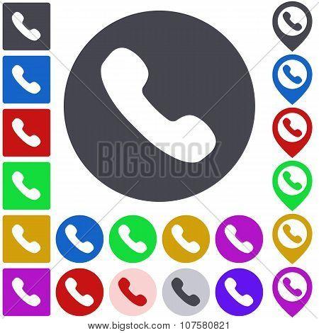 Color phone icon set