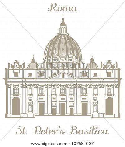 Vector Illustration Of St Peters Basilica