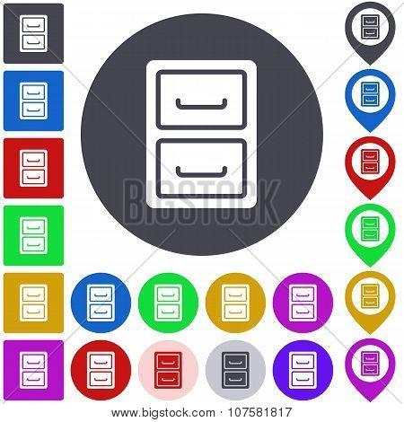 Color archive icon set
