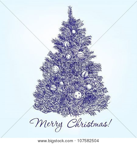 christmas tree  with balls hand drawn vector llustration  sketch
