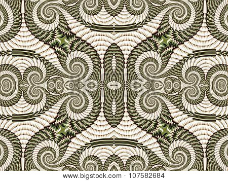 Symmetrical Pattern From Spiral Fractal. Gray And Green Palette. Computer  Graphics.