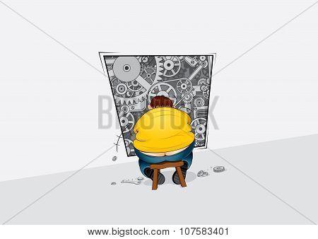 Repairman Adjusting Abstract Gear Mechanism Vector