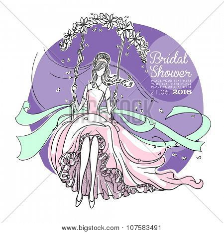 Freehand drawing of a Beautiful Bride on a swing. Bridal Shower invitation card.
