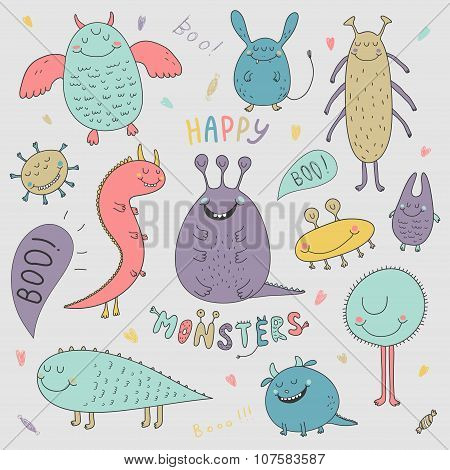 Vector Halloween Set With Hand Drawn Monsters