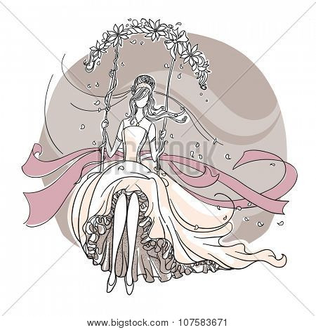 Freehand drawing of a Beautiful Bride on a swing.