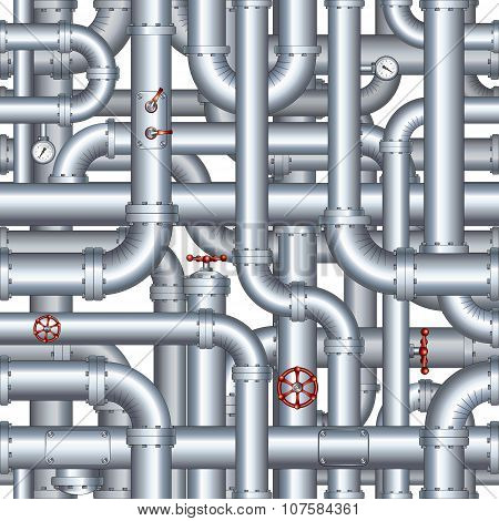 Seamless Abstract Pipeline Pattern. Vector Background