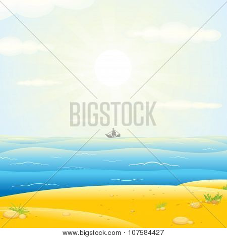 Sailboats Silhouette with Sunny Sea Background