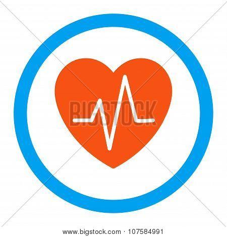 Heart Ekg Rounded Vector Icon
