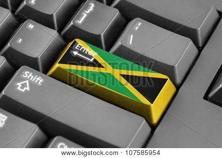 Enter Button With Jamaica Flag