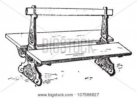 Bench, vintage engraved illustration. Dictionary of words and things - Larive and Fleury - 1895.