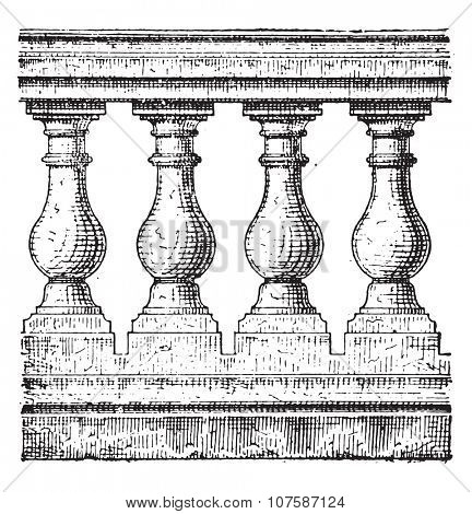Balustrade, vintage engraved illustration. Dictionary of words and things - Larive and Fleury - 1895.