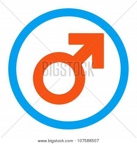 Male Symbol Rounded Vector Icon